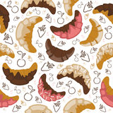 Seamless croissant background Stock Image