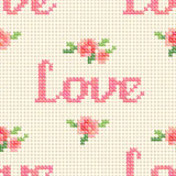 Seamless cross stitch pattern with 'Love' and pink roses. Royalty Free Stock Images
