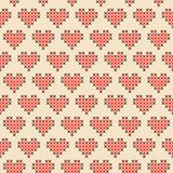 Seamless cross stitched pattern. Seamless valentine pattern with cross stitched hearts vector illustration