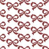 Seamless cross stitches bow pattern on white. Background Stock Photos