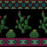 Seamless cross stitches cactuses floral pattern on black. Background Royalty Free Stock Photo