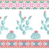 Seamless cross stitches cactuses floral pattern on white. Background Stock Photos