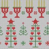 Seamless cross stitches Christmas pattern on white. Background Stock Image