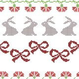 Seamless cross stitches Easter pattern on white vector illustration