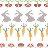 Seamless cross stitches Easter pattern on white royalty free illustration