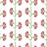 Seamless cross stitches flowers pattern on white stock illustration