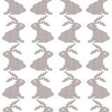 Seamless cross stitches rabbit pattern on white. Background Stock Image