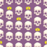 Seamless crowns and skulls Stock Images