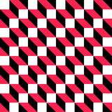 66-1. Seamless Cube Pattern. Abstract Black and Red Background. Vector Regular Texture Royalty Free Stock Images
