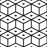 Seamless Cube Pattern. Abstract Black and White Background. Vector Regular Texture Royalty Free Stock Photos