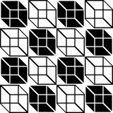 Seamless Cube Pattern. Abstract Black and White Background. Vector Regular Texture Stock Photos