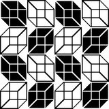 Seamless Cube Pattern. Abstract Black and White Background. Vector Regular Texture Stock Images