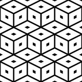 Seamless Cube Pattern. Vector Black and White Texture Royalty Free Stock Photos