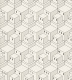 Seamless Cubes Pattern. Abstract Geometrical City Background. Monochrome Modern Art Texture royalty free illustration