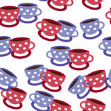 Seamless cup pattern. Seamless vector background with cups Stock Photo