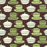Seamless Cup, saucer and sugar bowl background Stock Images