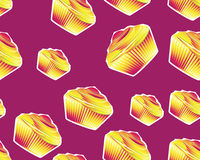 Seamless Cupcake. Seamless colored cupcake on dark pink background Royalty Free Stock Photography