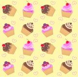 Seamless cupcake pattern Stock Image