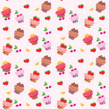 Seamless cupcake pattern Royalty Free Stock Photos