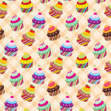 Seamless cupcake pattern Stock Images