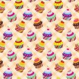 Seamless cupcake pattern Stock Images