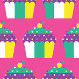 Seamless Cupcake Pattern. Background cake colourful cupcakes flat food green icing icon pattern pink seamless sweet symbol white yellow Royalty Free Stock Image