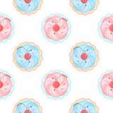 Seamless cupcake pattern Stock Photo