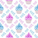 Seamless cupcake pattern. Hand drawn vector illustration Royalty Free Stock Photography
