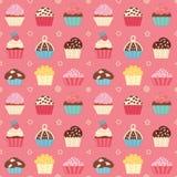 Seamless cupcake pattern. Sleek style. Vector illustration stock illustration