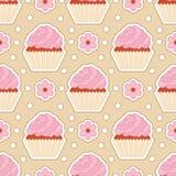 Seamless cupcake pattern. Sleek style. Vector illustration Royalty Free Illustration