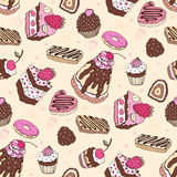 Seamless cupcake pattern. Yummy cute background. Hand drawn vector pattern Stock Photography