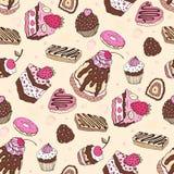 Seamless cupcake pattern Stock Photography