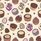 Seamless cupcake pattern Royalty Free Stock Images