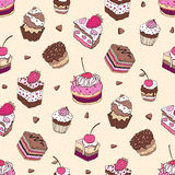 Seamless cupcake pattern. Yummy cute background. Hand drawn vector pattern Royalty Free Stock Photography