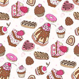 Seamless cupcake pattern. Yummy cute background. Hand drawn vector pattern Stock Images