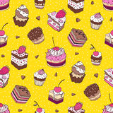 Seamless cupcake pattern. Yummy cute background. Hand drawn vector pattern Stock Photo