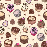 Seamless cupcake pattern. Yummy cute background. Hand drawn vector pattern Stock Image