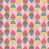 Seamless cupcakes. Royalty Free Stock Photos