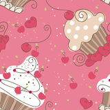 Seamless Cupcakes. Seamless Cupcake pattern design with Pink background Royalty Free Stock Photos