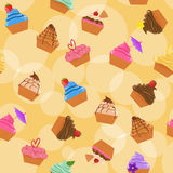 Seamless cupcakes background vector illustration