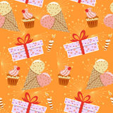 Seamless cupcakes. Seamless pattern with cupcakes and candles and ice cream and gift boxes Royalty Free Stock Photo