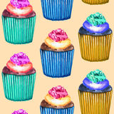 Seamless Cupcakes Pattern Stock Photography