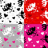 Seamless cupid pattern (4 color combinations) Royalty Free Stock Photo