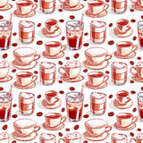 Seamless cups of coffee - 3 Royalty Free Stock Images