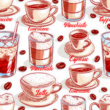 Seamless cups of coffee - 4 Royalty Free Stock Image