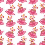 Seamless cups pattern Stock Image