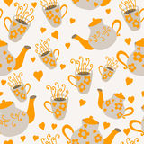 Seamless cups and teapots Stock Photo