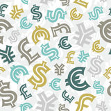 Currency signs. Seamless pattern background. Stock Image
