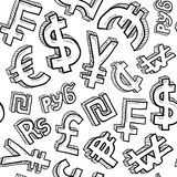 Seamless currency symbol background. Doodle style international currency symbols seamless vector background ready to be tiled Royalty Free Stock Images