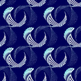 Seamless curved stripes pattern white dark blue turquoise Royalty Free Stock Images